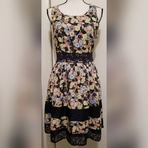 LC Lauren Conrad Blue Multi Colored Dress Floral